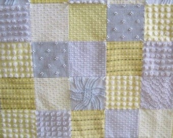 """Ready Made """"Partly Sunny"""" Yellow and Gray  Heirloom Quality Vintage Chenille Baby / Toddler / Lap Quilt 47"""" x 53"""""""