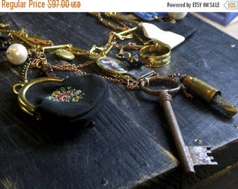 SALE The Town Pick-Pocket. One of a kind upcycled antique baubles, trinkets, found treasures, objects, doll parts, unique statement necklace
