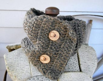 SALE The Little Rock Granite Cowl. Rustic Bohemian Hand Crocheted Scarflette with genuine River Birch Tree Branch Buttons. Boho Chic neck Ca