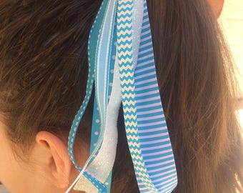 Turquoise Stripes Pony O Hair Tie, Ribbon Streamers