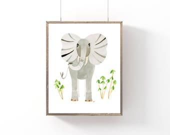 Elephant, Watercolor Art Print, Nursery Decor, Safari Theme, Baby Shower Gift, Kids Room, Nursery Wall Art,Animal Print, Scandinavian Design
