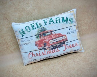 Vintage Red vehicle pillow | Christmas decor | Vintage red truck | Gift for him | Stocking stuffer | Christmas truck decoration | Noel Farms