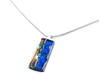Pendant Necklace, Cobalt Blue and Rose Gold  Chunky Dichroic Jewelry