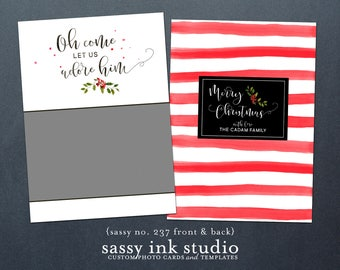 Instant Download - Holiday Photo Card Template - 5x7 photoshop template - Christmas card (no. 237)