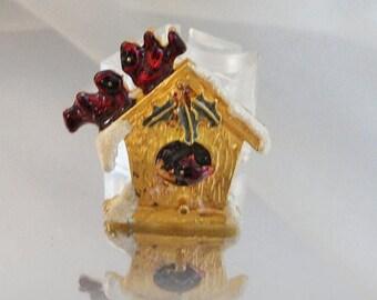 SALE Vintage Christmas Birdhouse Brooch. Glittery Snow. Holiday Cardinal Pin. Red Bird Brooch.