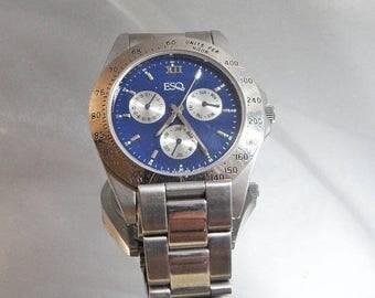SALE Vintage Men's Esquire Watch.  Silver and Blue. Designer Watch.