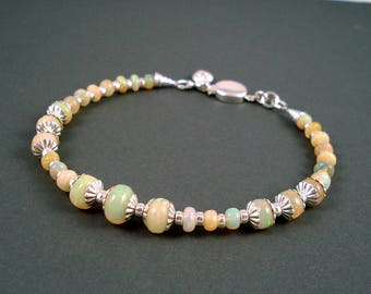 Opal Bracelet, Extreme Color Opals, Ethiopian Fire Opals and Sterling Silver Bracelet, Fire Opal Jewelry