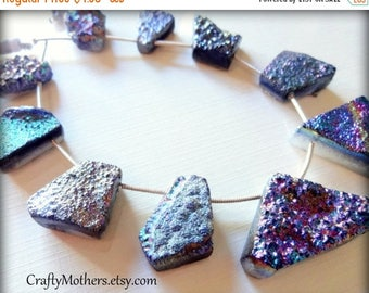 7% off SHOP SALE CLEARANCE! Rainbow Titanium Druzy Agate Slab Beads, asst. sizes, iridescent, earrings, necklace, focal, pendant, ooak, drus
