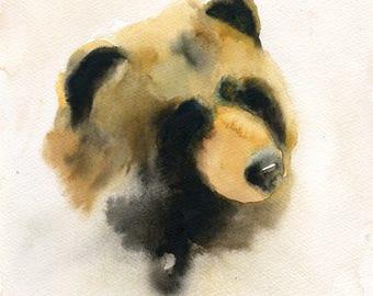 Bear Original watercolor painting 8x10inch