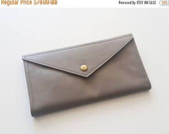 OnSALE Grey envelope  wallet - leather women wallet