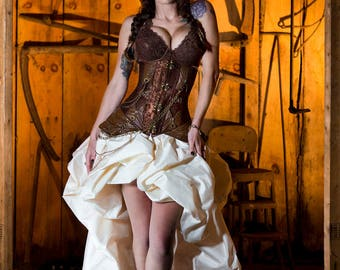 Custom Size Brown and Ivory Steampunk Burlesque Under Bust corset with train prom dress