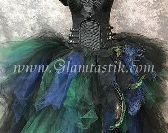 Size XL black peacock high low black feather burlesque corset costume dress with leather neck piece READY tO SHIP