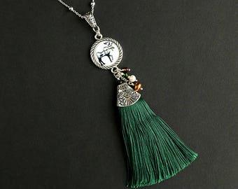 Tassel Necklace. Moose Necklace. Green Necklace. Wildlife Necklace. Green Tassel Necklace. Silver Necklace. Handmade Necklace.