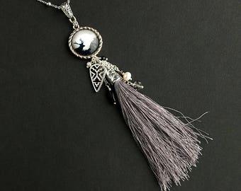 Gray Tassel Necklace. Deer Necklace. Woodland Necklace. Native Arrowhead Necklace. Grey Tassle Necklace. Silver Necklace. Handmade Necklace.