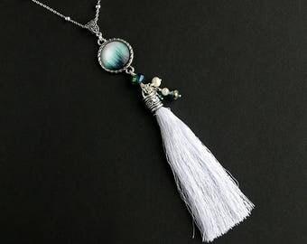 Evergreen Forest Tassel Necklace. Forest Necklace. Teal Green Necklace. White Tassel Necklace. Silver Necklace. Handmade Necklace.