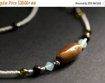 SUMMER SALE Earthy Eyeglass Chain Brown Badge Lanyard Light Blue Glasses Necklace Silver Eyeglass Holder Green Beaded Lanyard Handmade Badge