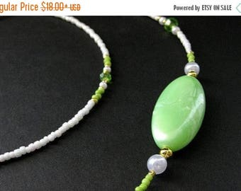 BACK to SCHOOL SALE Beaded Lanyard or Eyeglass Chain.  Badge Lanyard. Lime Green Lanyard. Eyeglass Necklace. Id Lanyard. Eyeglass Holder. Ha