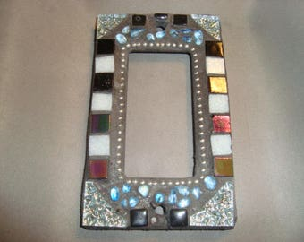MOSAIC Outlet Cover or Switch Plate, GFI Decora, Wall Plate, Wall Art, Black, White, Silver, Blue