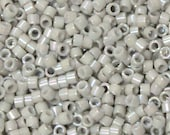 DB-1508 11/0 Miyuki Delica Seed Beads - 10 grams - opaque turtle dove grey -  luster rainbow - round cylinder seed beads