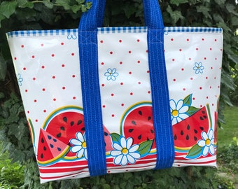 Epitome of summer watermelon oilcloth tote bag