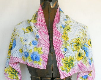 Vintage Rectangular Ladies Scarf • 1940's Colorful Modern Neck Scarf  • Yellow Pink Blue Stylized Floral Scarf
