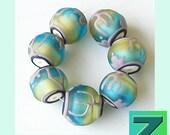 Yippee-Yi-Yay Cactus Petite Hollows - 7 experimental beads - lampwork by Sarah Moran - Goodbye Cruel Etsy