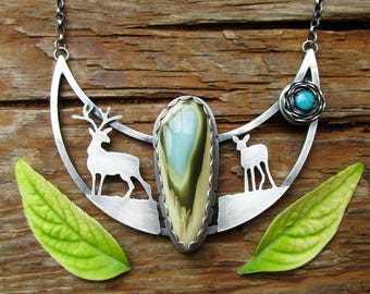 imperial jasper sterling silver turquoise stag deer necklace - fawn necklace - statement necklace - animal necklace - reversible