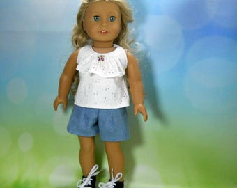 18 inch doll clothes, Three Piece Outfit, Ruffle Top, Denim Shorts, 05-2104