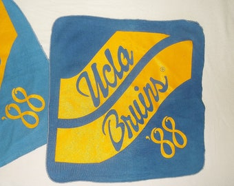 2 Vintage square UCLA BRUINS '88 Towels • blue & gold • University of California, Los Angeles • use wear