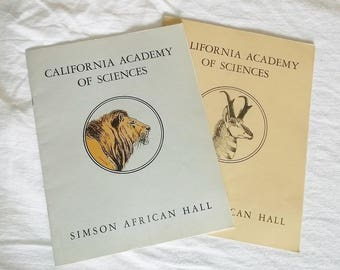 2 vintage 1940s CALIFORNIA ACADEMY Of SCIENCES Books • Simson Afican Hall & North American Hall