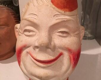 Hi Buddy Chia Head ~ Vintage Ceramic Head Grows Grass ~ Unique Home Decor  ~ Clown Face ~ World War ll GI Soldier