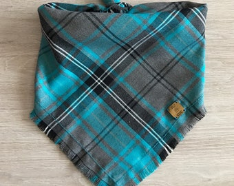 Tartan Dog Bandana / Teal bandana / pet neckwear / dog accessories / pet supplies / turquoise bandana / blue and grey