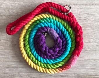 Rainbow Rope Dog Lead / 8mm rope dog lead / rainbow dog leash / dog lead / puppy lead / rope dog lead