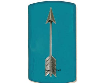 Arrow Vertical Card Case Inlaid in Hand Painted Turquoise Enamel Engraving and Personalized Options Available Choose your Color