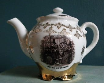 Antique Miniature Teapot Welsh Costumes China Small Tea Pot gold leaf decoration - vintage decorative ceramics - Welsh Ladies spinning wheel
