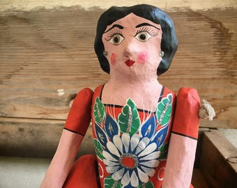 Vintage Mexican folk art paper mache Lupita doll, cartoneria doll, Mexican art paper mache sculpture, festive home decor, fiesta decorations