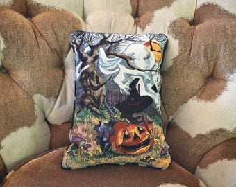 Vintage Halloween throw pillow 11 x 16 by La France Made in USA Halloween decorations