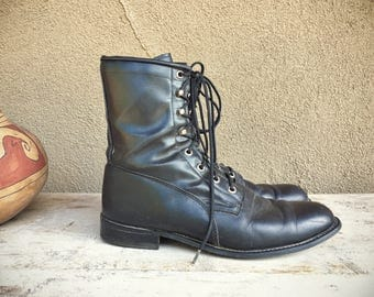 Vintage Women's Size 8.5 D (Wide) black leather lace up Packer boots by Roy Cooper
