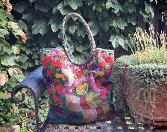 Vintage Mexican shoulder bag embroidered fabric ethnic tote hippie shoulder bags