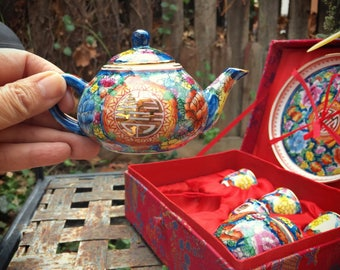Vintage Miniature Chinese Porcelain Tea Set in Box, Gift for Young Girl