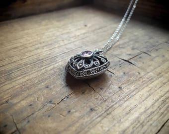 Heart Locket Necklace Sterling Silver Marcasite Pink Topaz, Vintage Locket Necklace