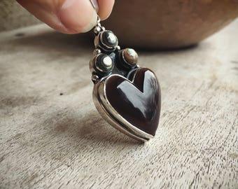 Abalone Sterling Silver Pendant Heart Jewelry, Tribal Jewelry, Heart Pendant, Bohemian Necklace