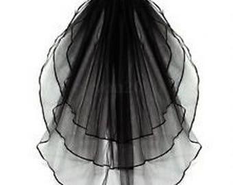 Black wedding veil, Black Bridal veil, bridal veil, 3 tiers wedding veil, elbow length black veil,  Halloween veil, black costume veil