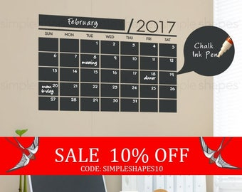 Summer Sale - 2017 Chalkboard Wall Calendar - Vinyl Wall Decals - 2017 Wall Calendar