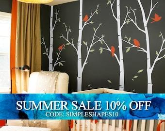 Tree wall decals - Thin Birch Tree Wall Decals Sticker Set