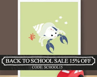 Custom Baby Print - Under The Sea - Hermit Crab - 8.5 x 11 inches