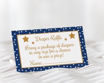 Star Diaper Raffle / Twinkle Twinkle Diaper Raffle / Blue and Gold Diaper Raffle / Boy Baby Shower / Diaper Raffle Ticket / Instant Download