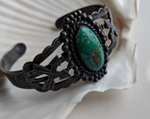 Southwestern sterling silver and turquoise cuff bracelet AS IS - vintage jewelry