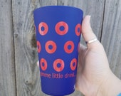Gimme Little Drink Fishman Donut Silipint BPA free Silicone 16 oz Pint Glass in Navy with Red O's