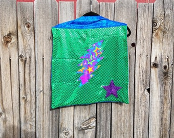 Child Tiny Sized Grateful Dead 13 Point Lightning Bolt Cape in Purple or Green with Gold, Blue or Purple Faux Velvet Lining